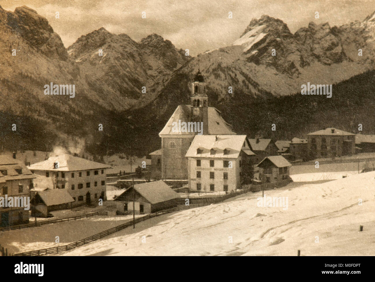 The village of Sappada in a picture taken in mid '20 (Italy) - Stock Image