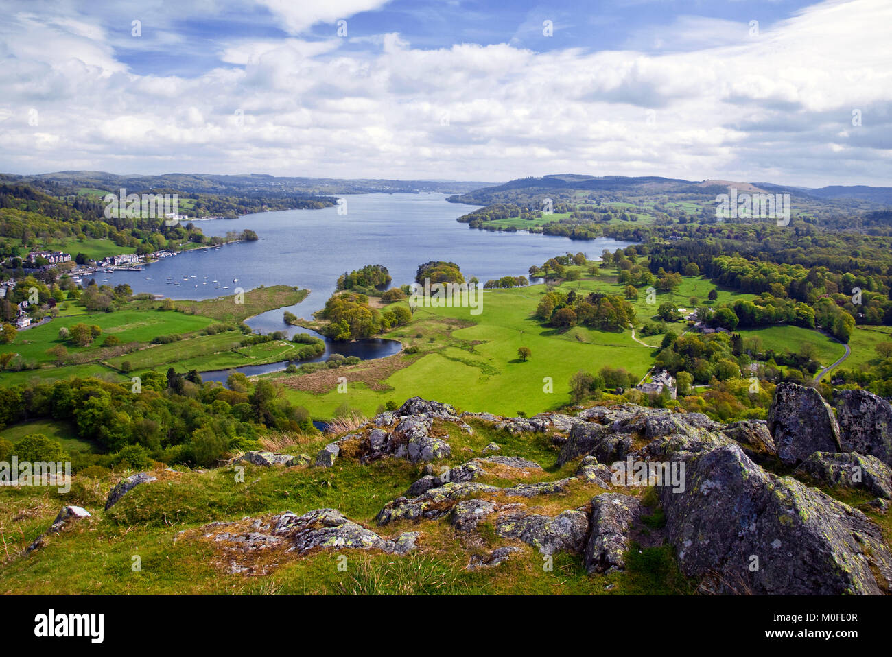 Lake Windermere from Loughrigg Lake District national park Cumbria - Stock Image