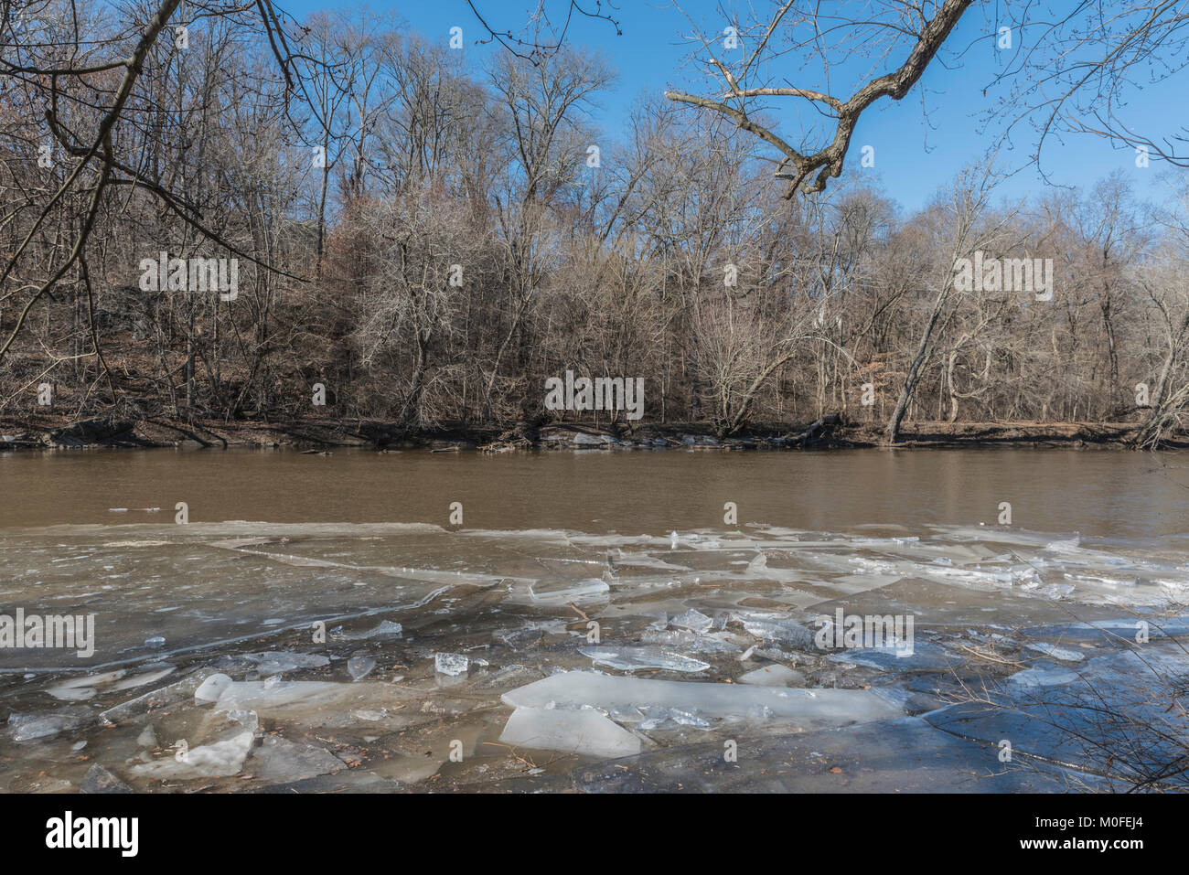 ice on the Brandywine Creek in Wilmington, Delaware - Stock Image