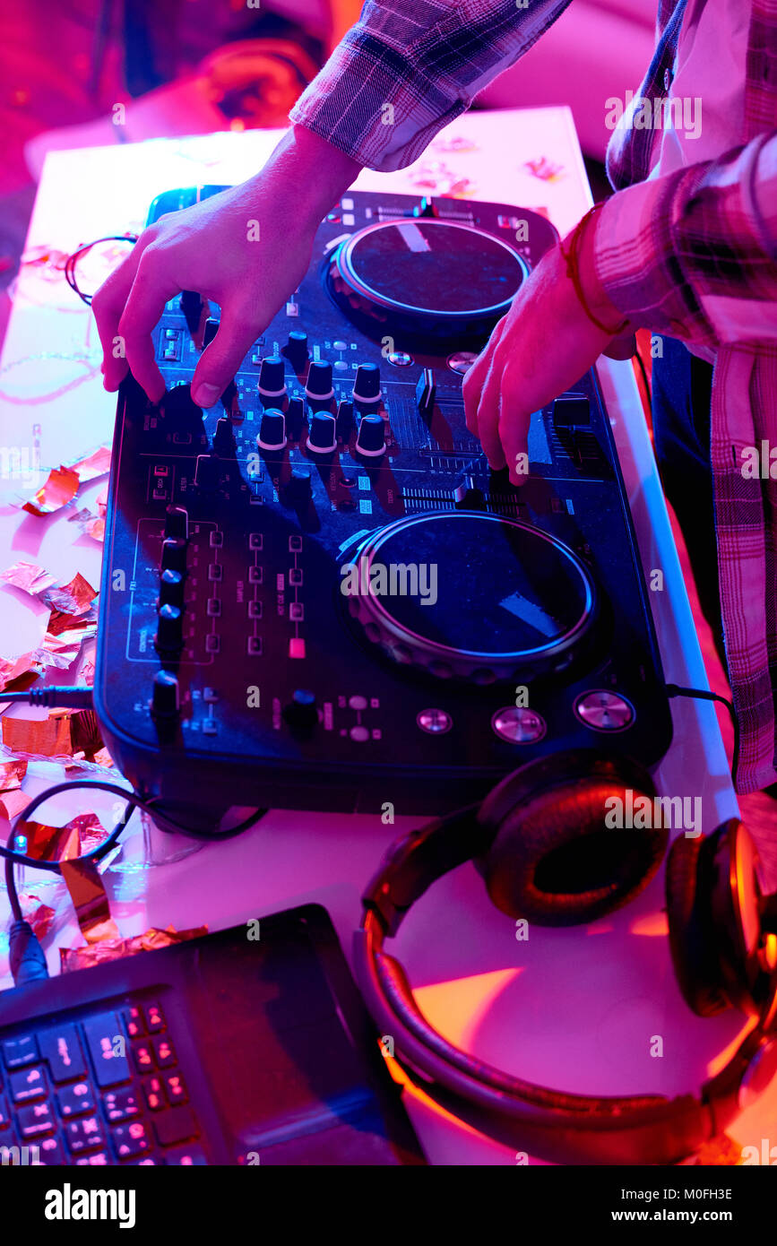 DJ at Music Mixer - Stock Image