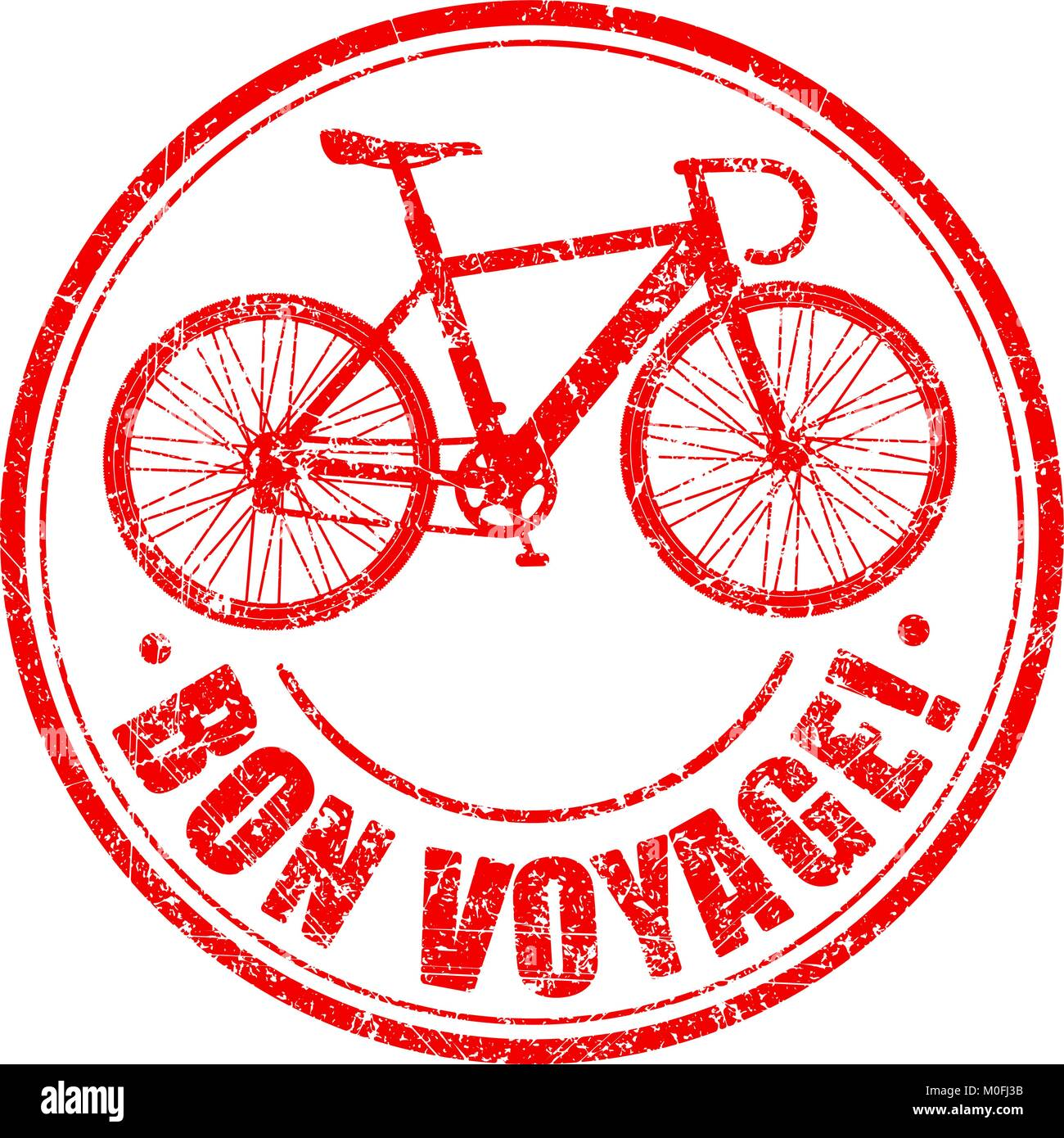 Bon voyage grunge rubber stamp with stylised bike - Stock Vector
