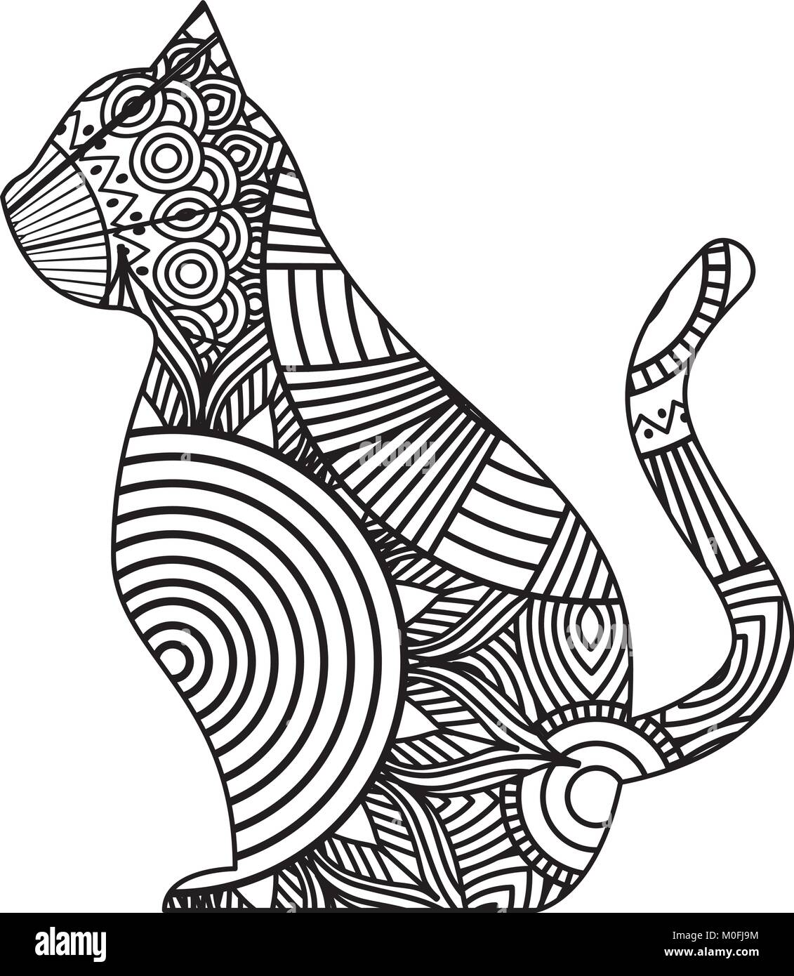Hand Drawn For Adult Coloring Pages With Cat Sitting Zentangle Monochrome Sketch