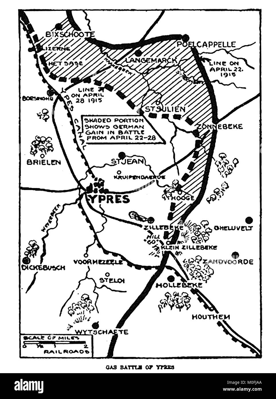 WWI - A 1917 map showing military activity in the 1914-1918 First World War. The area of the gas Battle of Ypres - Stock Image