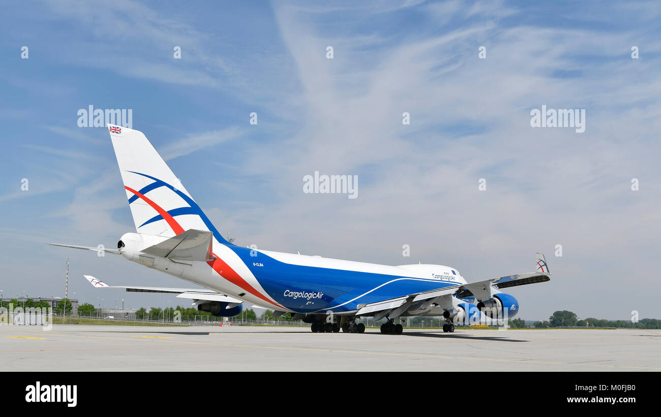 CAL, Cargo Logic Air, Boeing, B747-400, ERF, Freighter, Cargo, Aircraft, Airplane, Plane, Roll Out, Munich Airport, - Stock Image