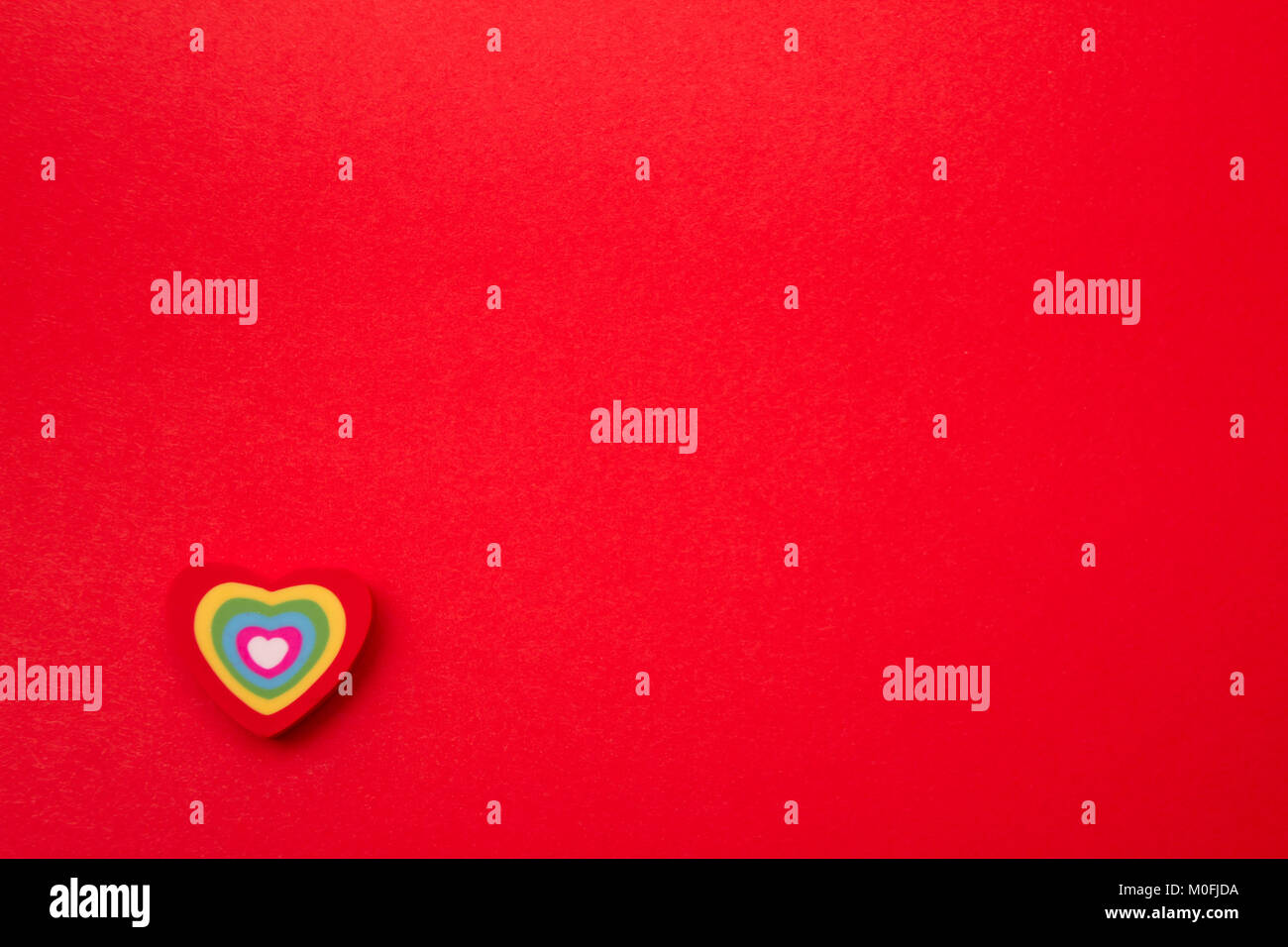 Hearts. Valentine day. Card for St. Valentine day with copy space and hearts. Color hearts on Valentine's day background. - Stock Image