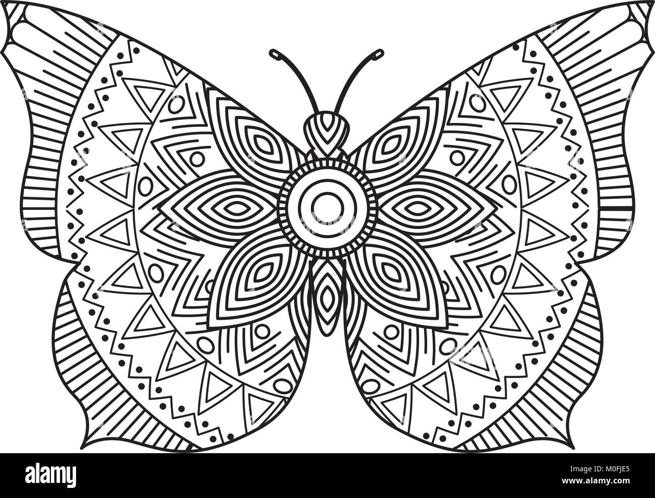 Hand Drawn For Adult Coloring Pages With Butterfly Zentangle Monochrome Sketch