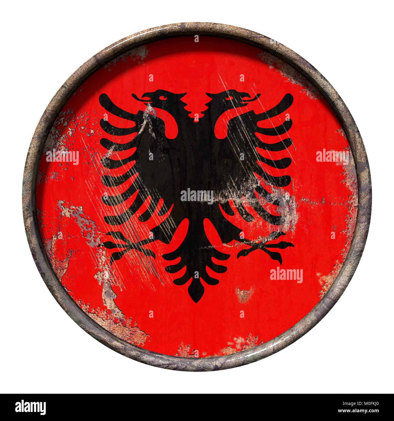 3d rendering of a Albania flag over a rusty metallic plate. Isolated on white background. - Stock Image
