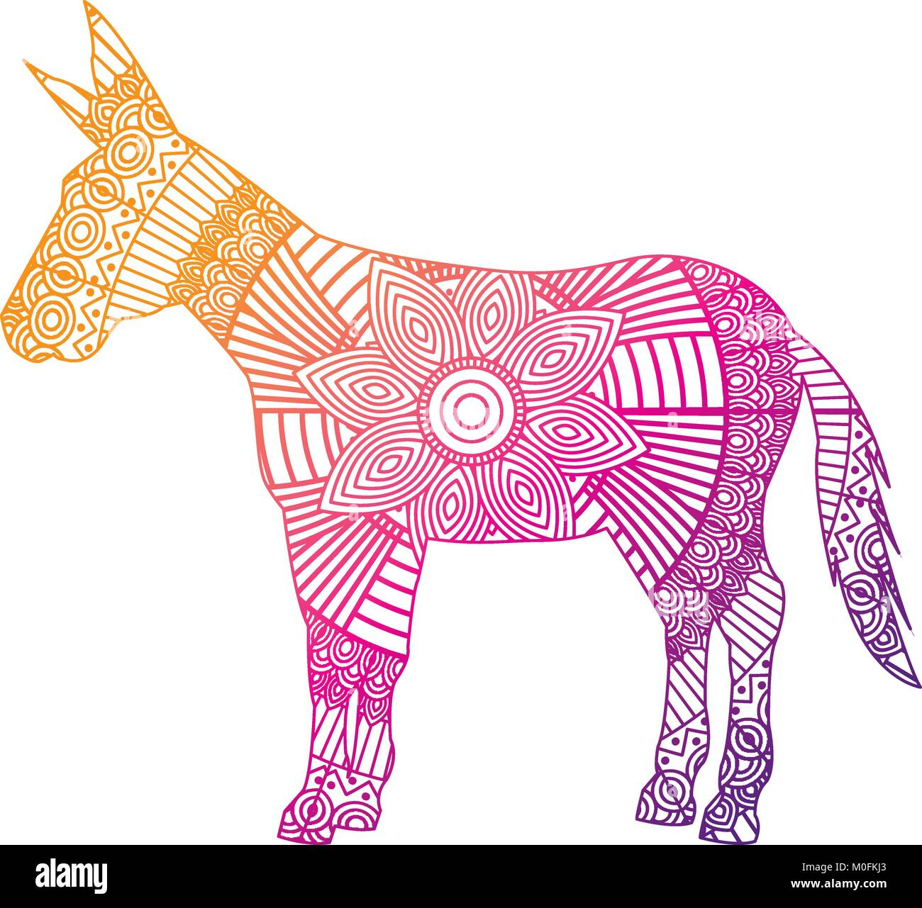 Hand Drawn For Adult Coloring Pages With Donkey Zentangle Stock