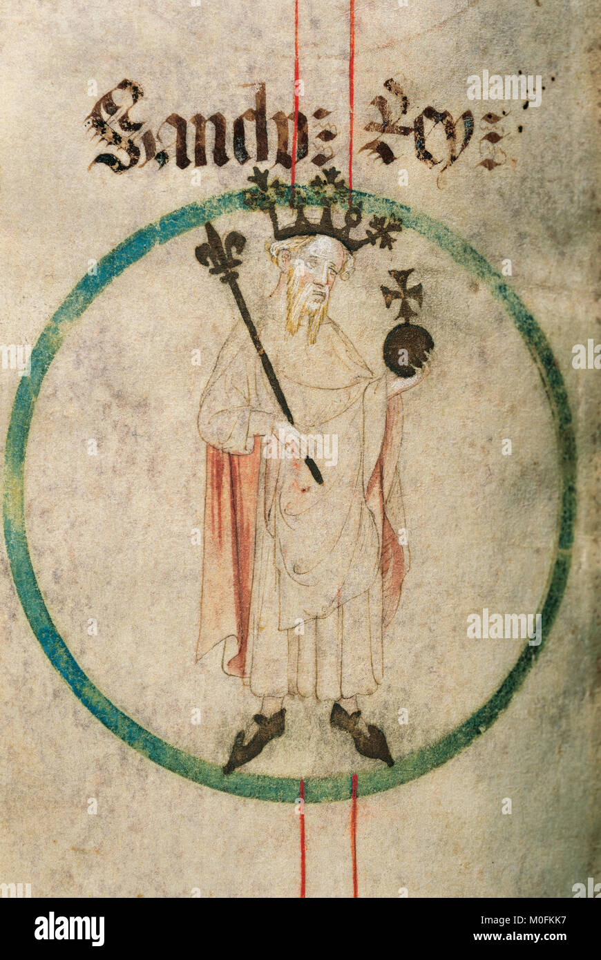 Sancho Ramirez (1042-1094). King of Aragon from 1063-1094. Genealogy of the Crown of Aragon. Parchament. 14th-15th - Stock Image