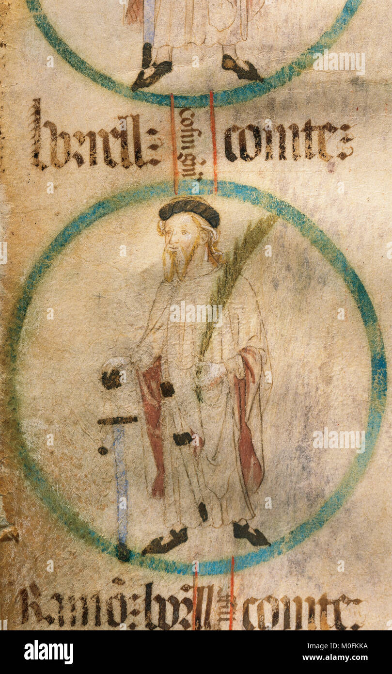 Borell II (927-992). Count of Barcelona. Genealogy of the Crown of Aragon. Parchament. 14th-15th century. Catalonia. - Stock Image