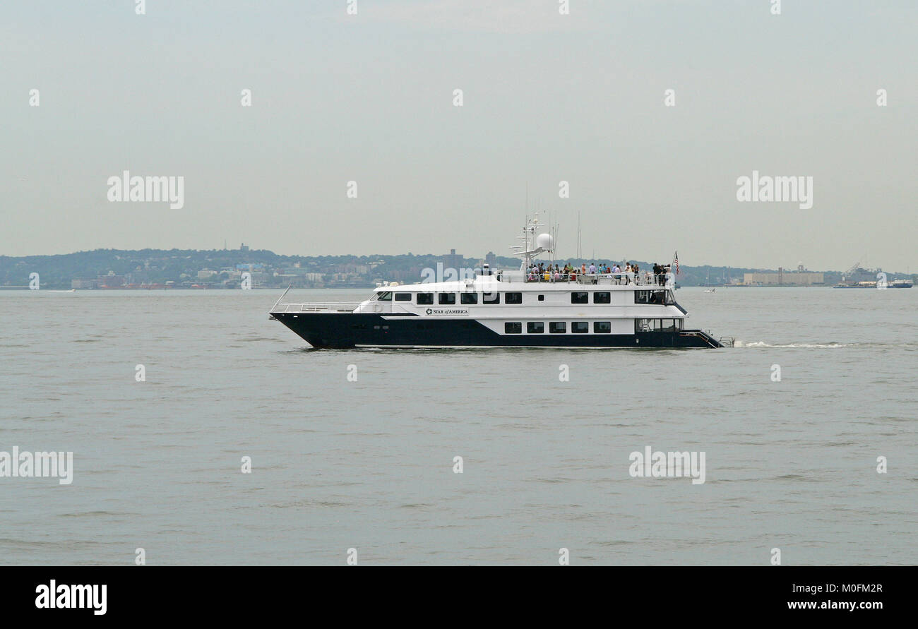 Star of America Private Yacht, Hudson River at Battery Park near Southern end of Manhattan in New York City, New - Stock Image