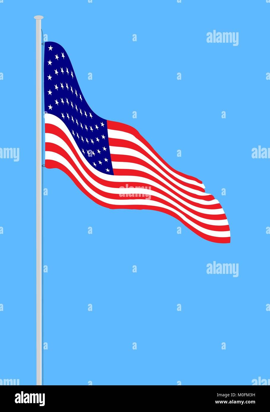 Waving American flag. Isolated vector USA flag illustration for flyer, banner, greeting card, print, poster, design - Stock Vector