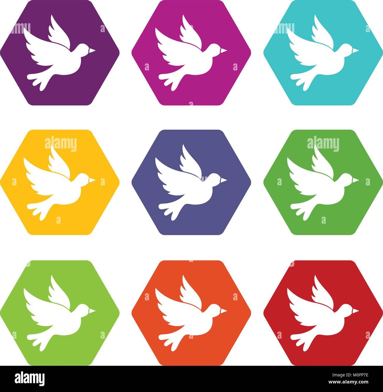 Dove icon set color hexahedron - Stock Image