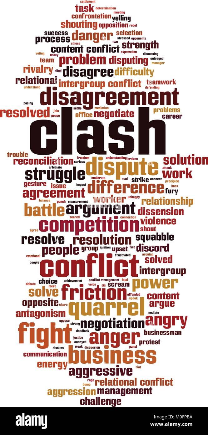 Clash word cloud concept. Vector illustration - Stock Vector
