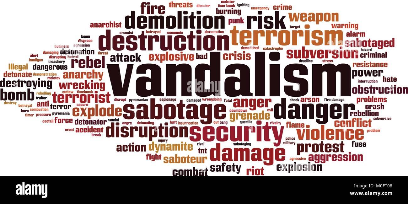 Vandalism word cloud concept. Vector illustration Stock Vector