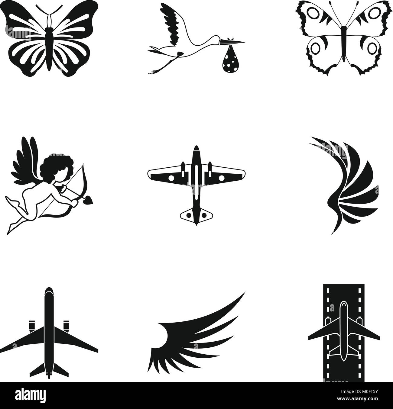 Rise icons set, simple style - Stock Image