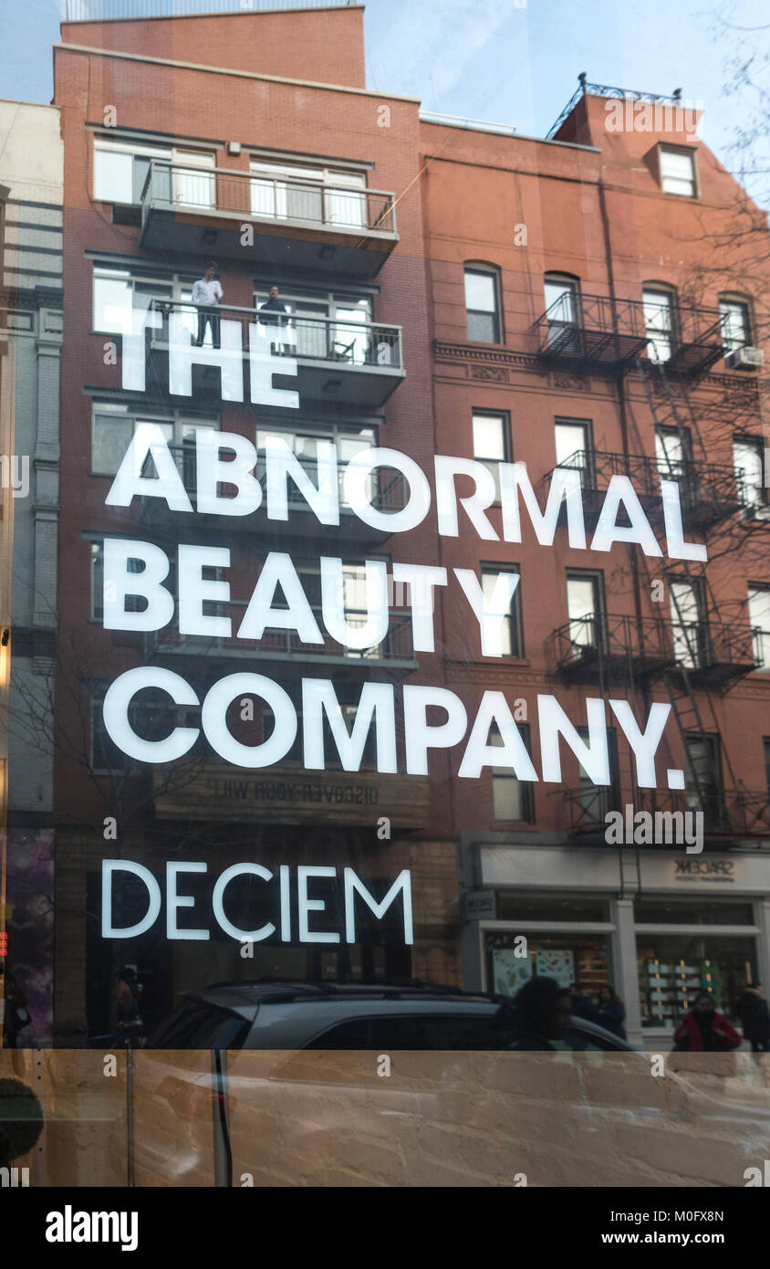 Deciem, The Abnormal Beauty Company, on Prince Street in SoHo, New York City - Stock Image