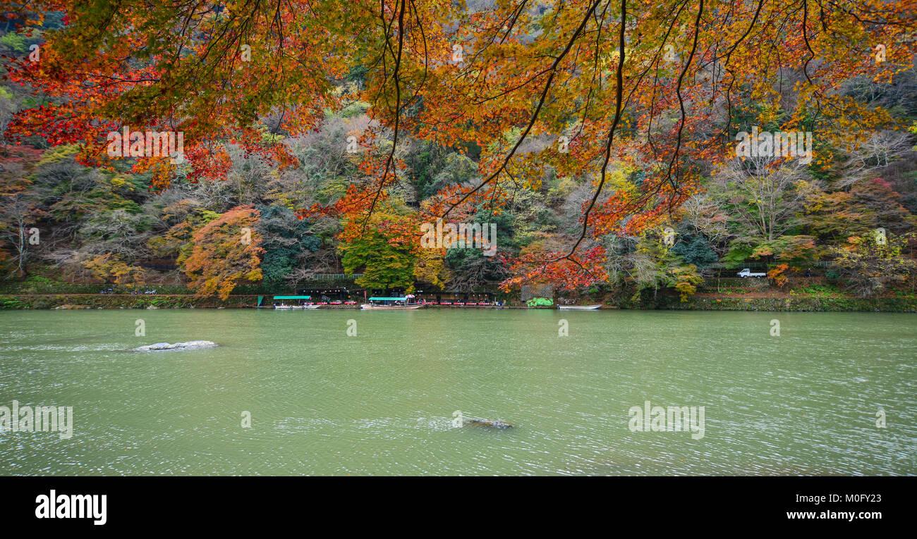 Kyoto, Japan - Nov 28, 2016. View of Hozu River at Arashiyama in Kyoto, Japan. Arashiyama is a nationally designated - Stock Image
