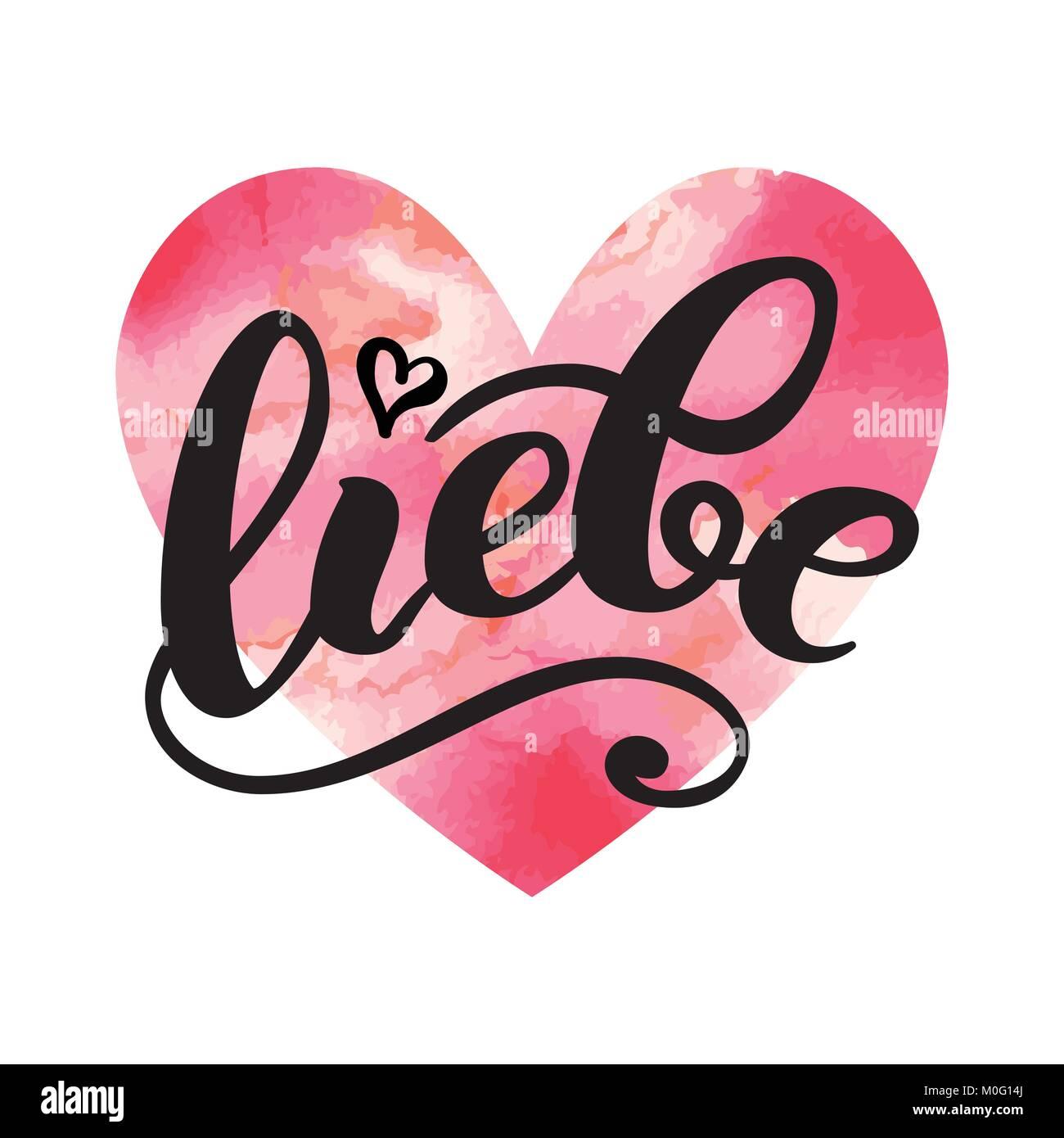 Liebe Love In German Happy Valentines Day Card Hand Written
