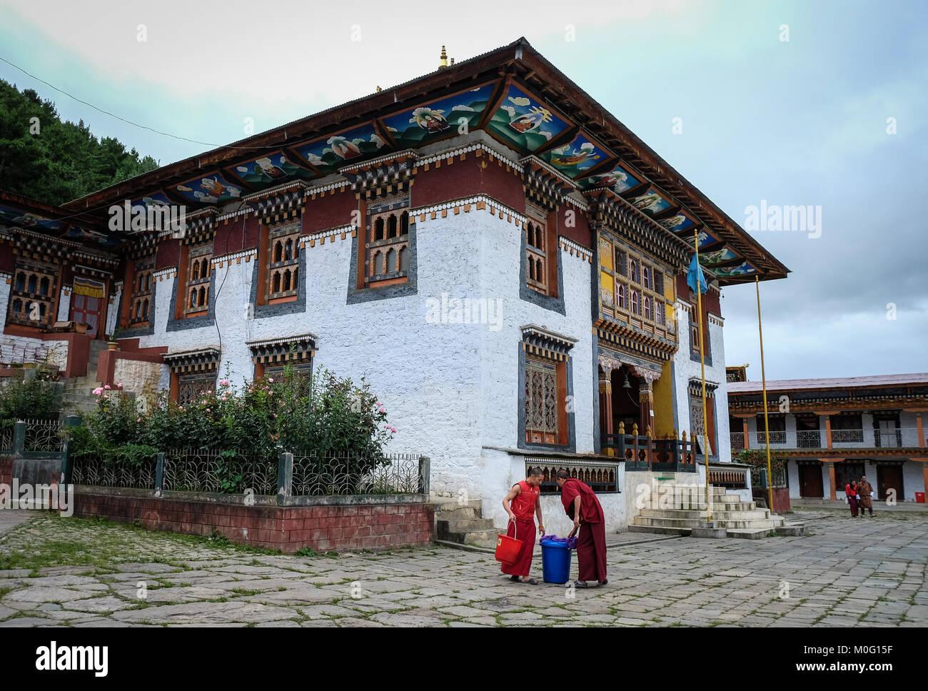 Thimphu, Bhutan - Aug 31, 2015. Monks at ancient Buddhist monastery in Thimphu, Bhutan. Bhutan is a small country - Stock Image