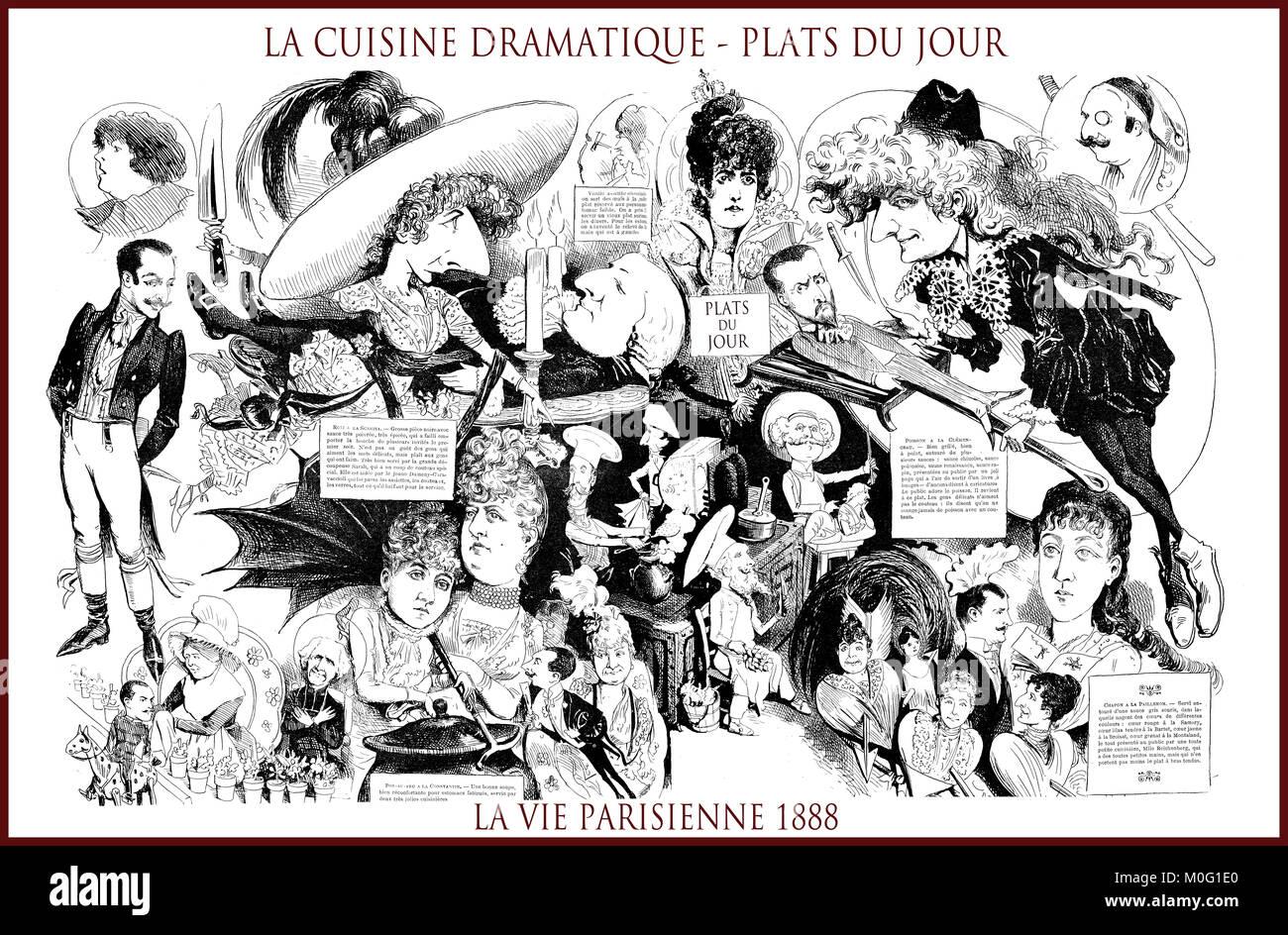 French satirical magazine La vie Parisienne 1888, central page: la cuisine dramatique, plats du jour - drama kitchen, - Stock Image