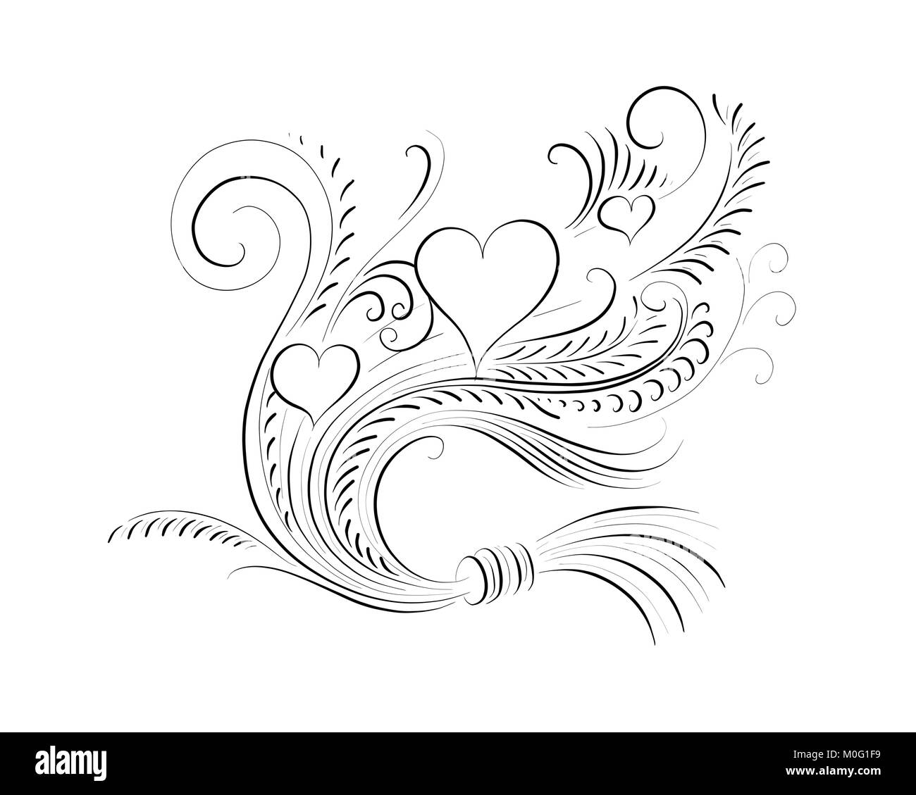 flourished ornament with hearts for wedding invitations and Stock ...