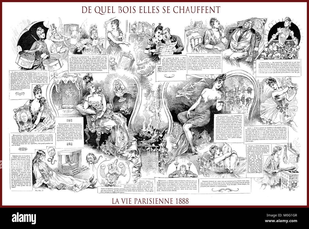 French satirical magazine La vie Parisienne 1888, central page: de quel bois elles se chauffent , humor, caricatures, Stock Photo