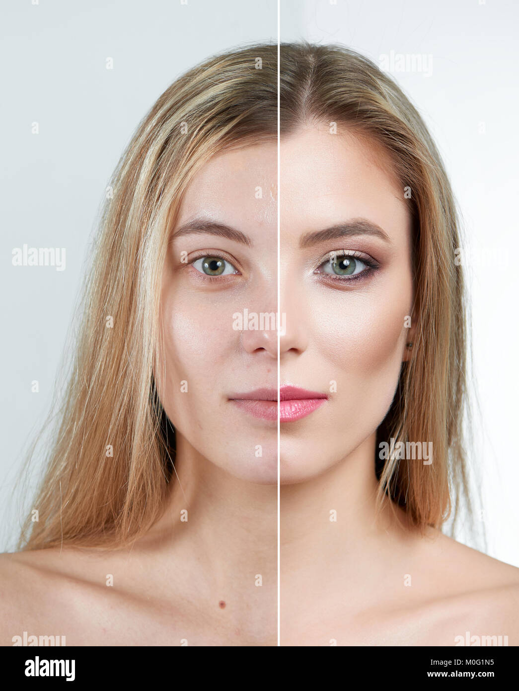a4cf5b06375 A portrait of a blonde girl, one part of a face being clean and no