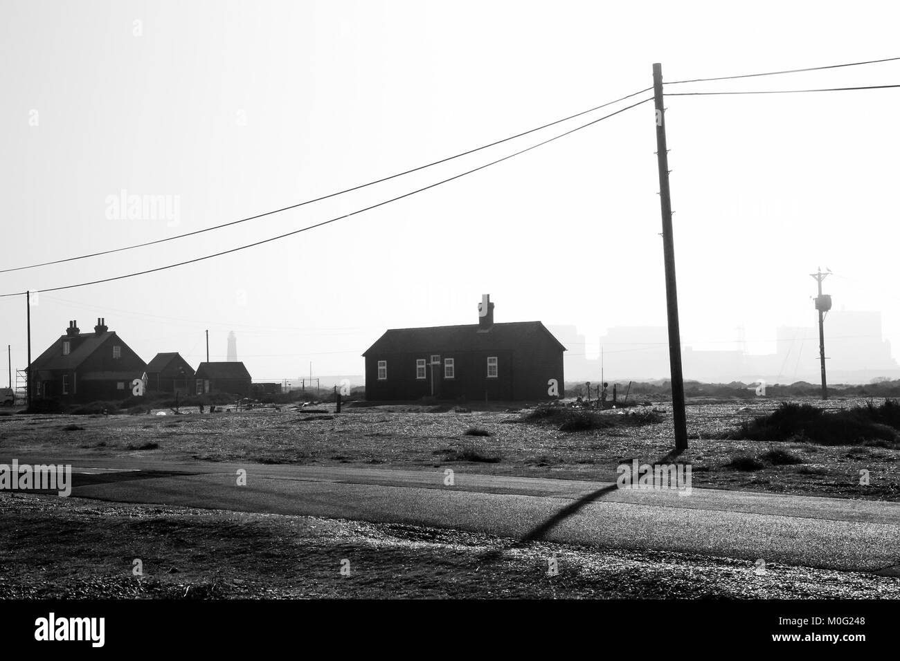 Black and white landscape, Dungeness, Kent, UK - Stock Image
