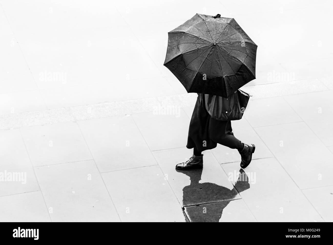London Black and white street photography: Woman walking in rain with umbrella. - Stock Image