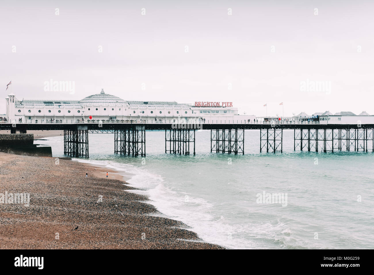 Famous pier in Brighton, the most popular seaside destination in the UK for overseas tourists. - Stock Image