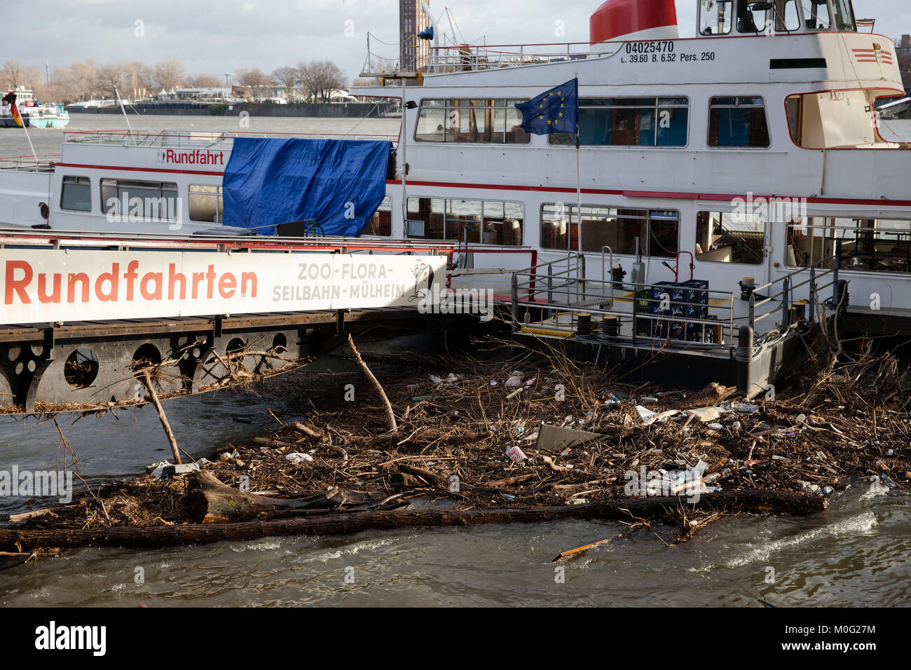 Europe, Germany, Cologne, flotsam at a landing stage after flood of the river Rhine.   Europa, Deutschland, Koeln, Stock Photo