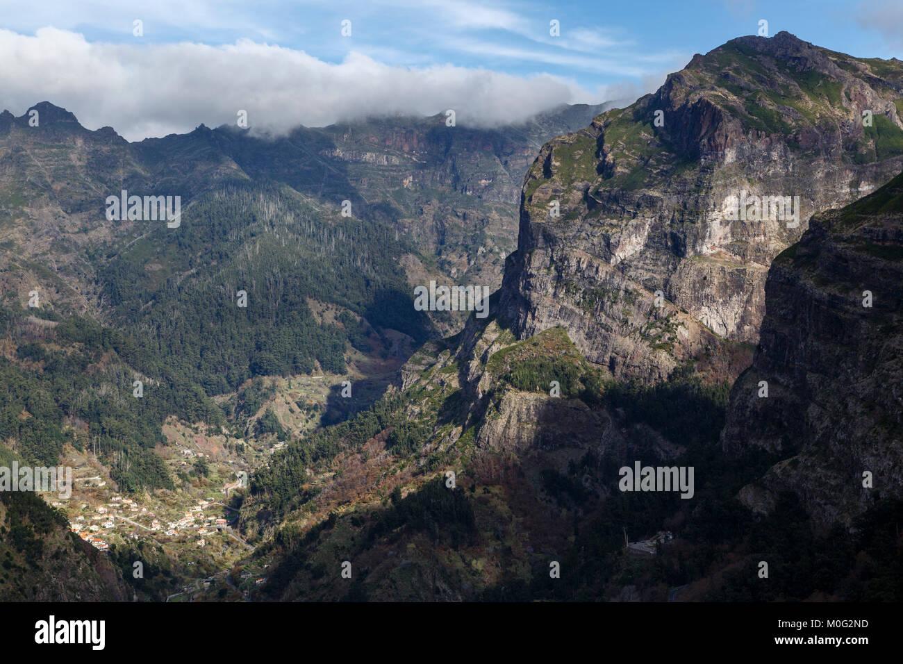 View of Nun's Valley (Curral das Freiras) from the Eira do Serrado viewpoint, Madeira - Stock Image
