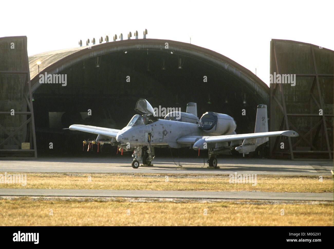 antitank A 10 aircraft on the USA air base of  Aviano (Pordenone, Italy) - Stock Image