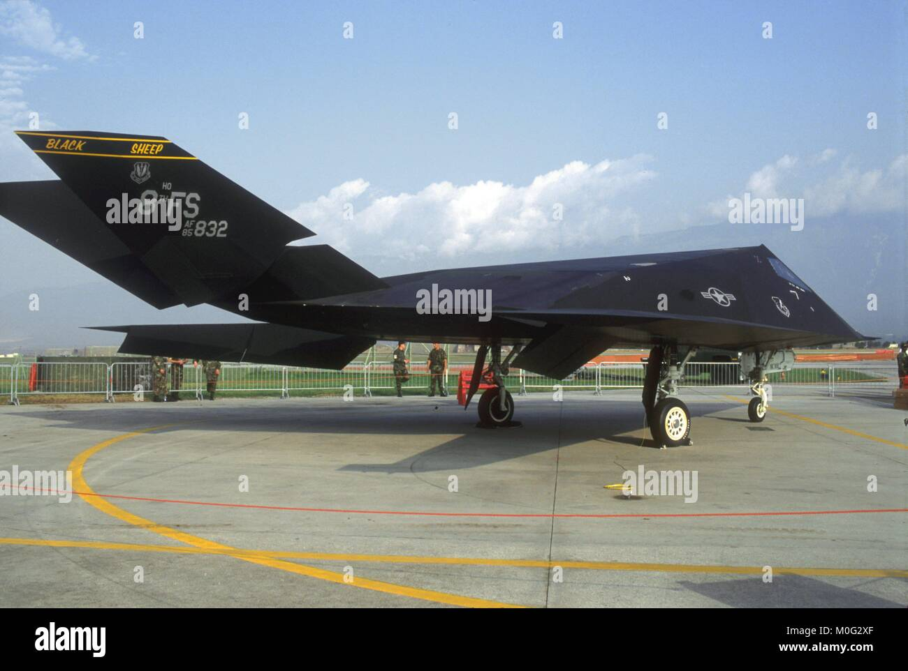 stealth fighter F 117 of the US Air Force on Aviano air base (Italy) - Stock Image