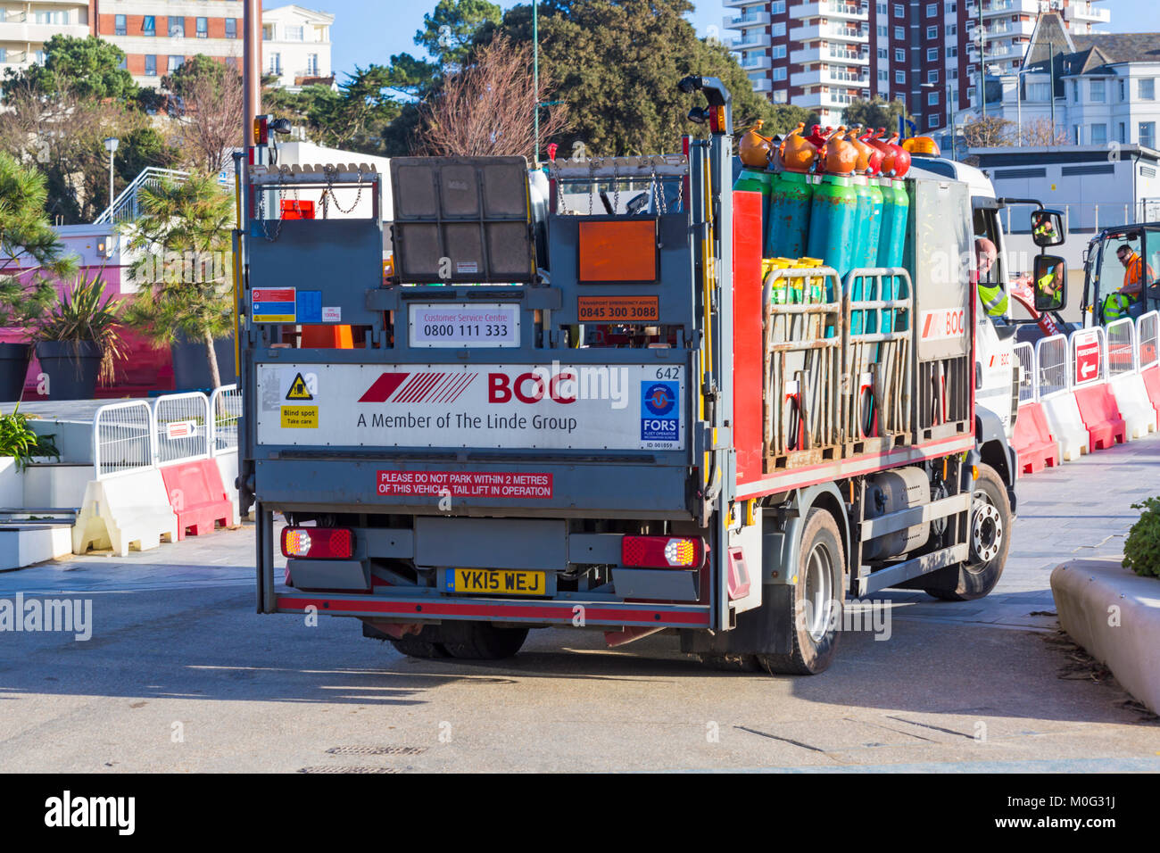 Renovations and resurfacing work at Pier Approach, Bournemouth, Dorset UK in January - vehicle with gas cylinders - Stock Image