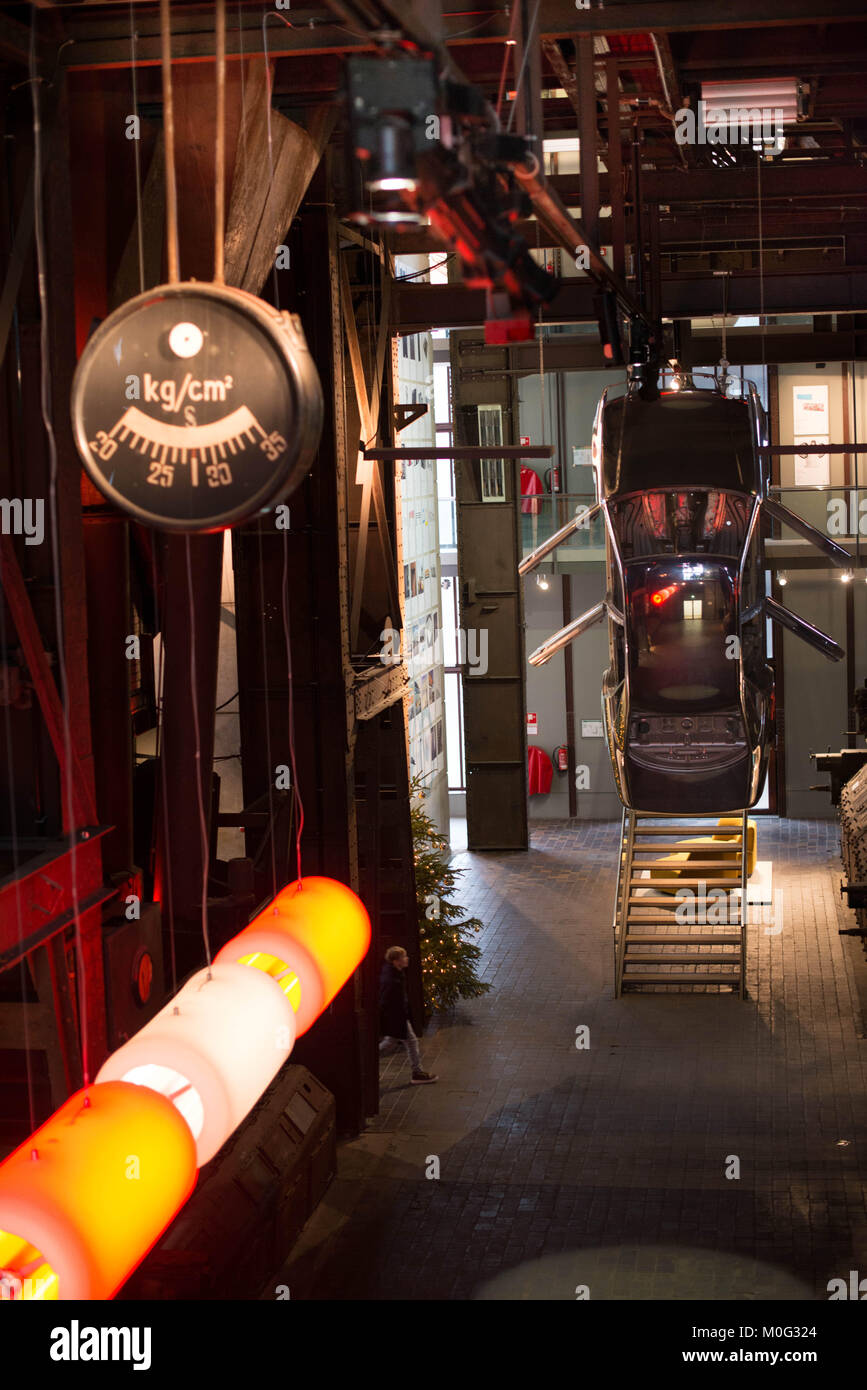 Hanging car in design museum in Zollverein, Essen - Stock Image