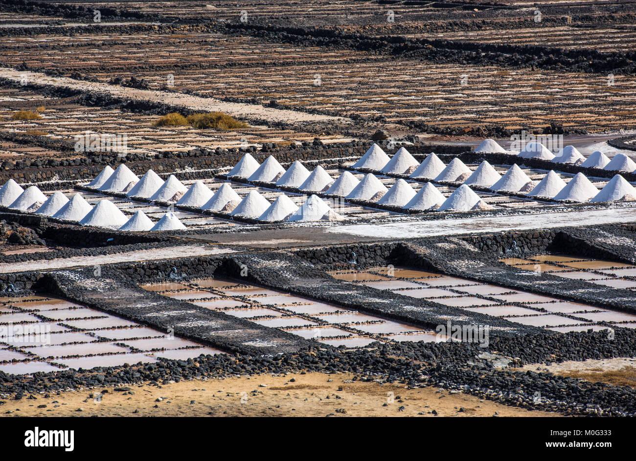 Salinas de Janubio, saltworks in Lanzarote, Canary Islands, Spain Stock Photo