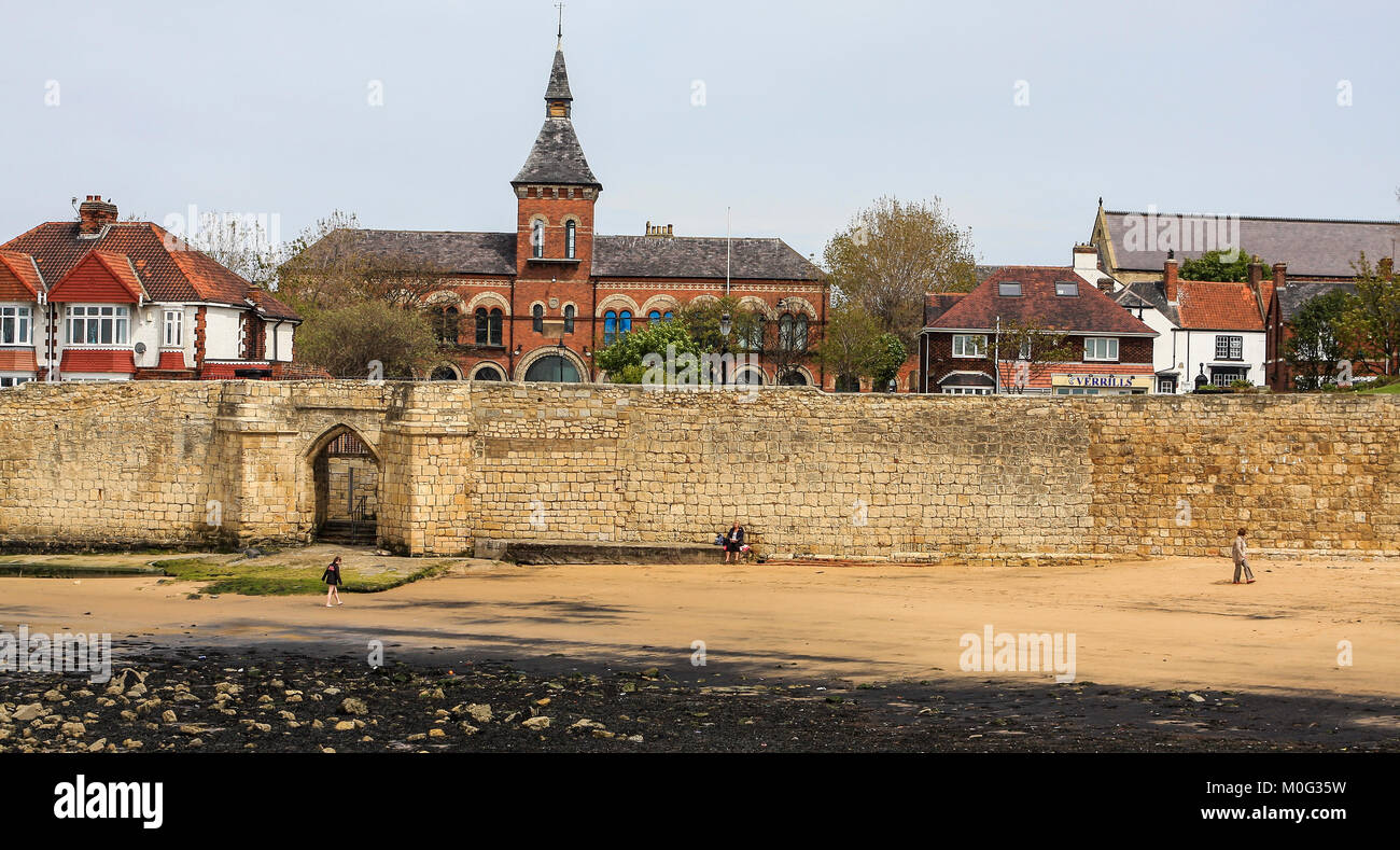 The beach area at Hartlepool Headland,England,UK showing Sandwell Gate leading onto the beach - Stock Image