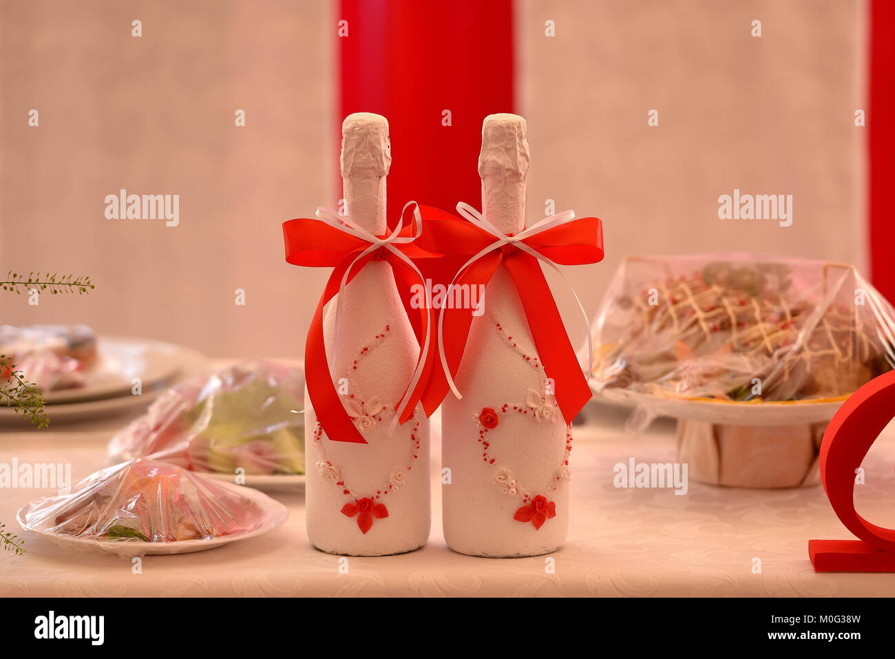 Bottle Champagne Wedding Decoration Ribbon Stock Photos & Bottle ...