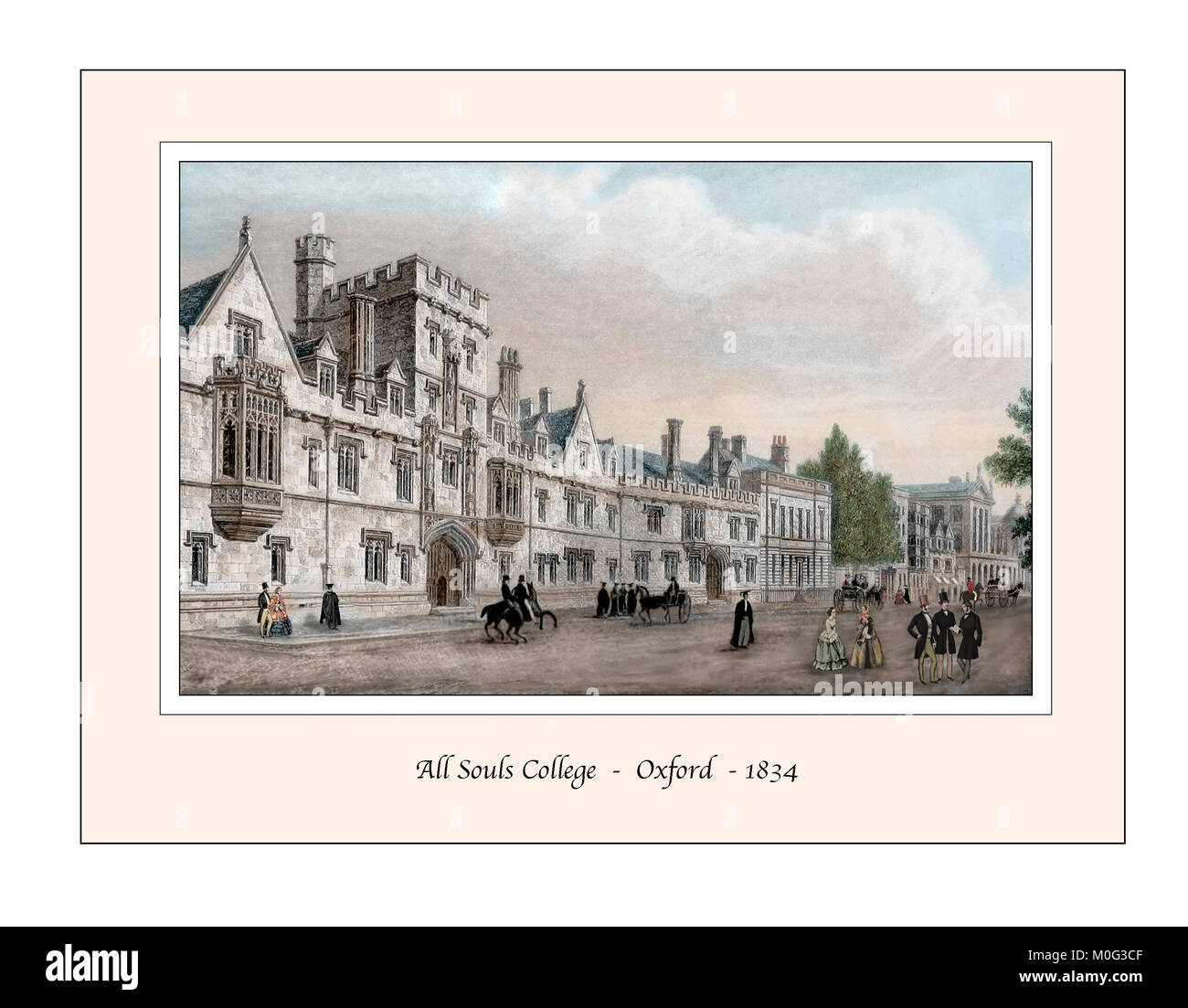 All Souls College Oxford Original Design based on a 19th century Engraving - Stock Image