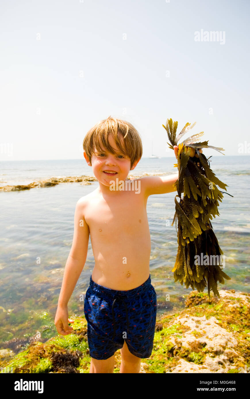 portrait shot of smiling five year old boy standing in swimming trunks with his back to the open sea, holding up, - Stock Image