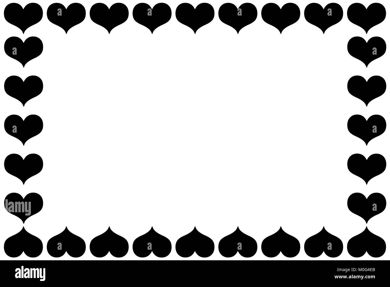 Heart frames - vector pattern - black pattern on a white background ...