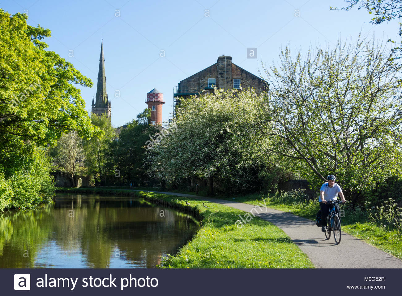 A cyclist on the towpath of the Lancaster Canal, near to White Cross in Lancaster with the distinctive mill water - Stock Image