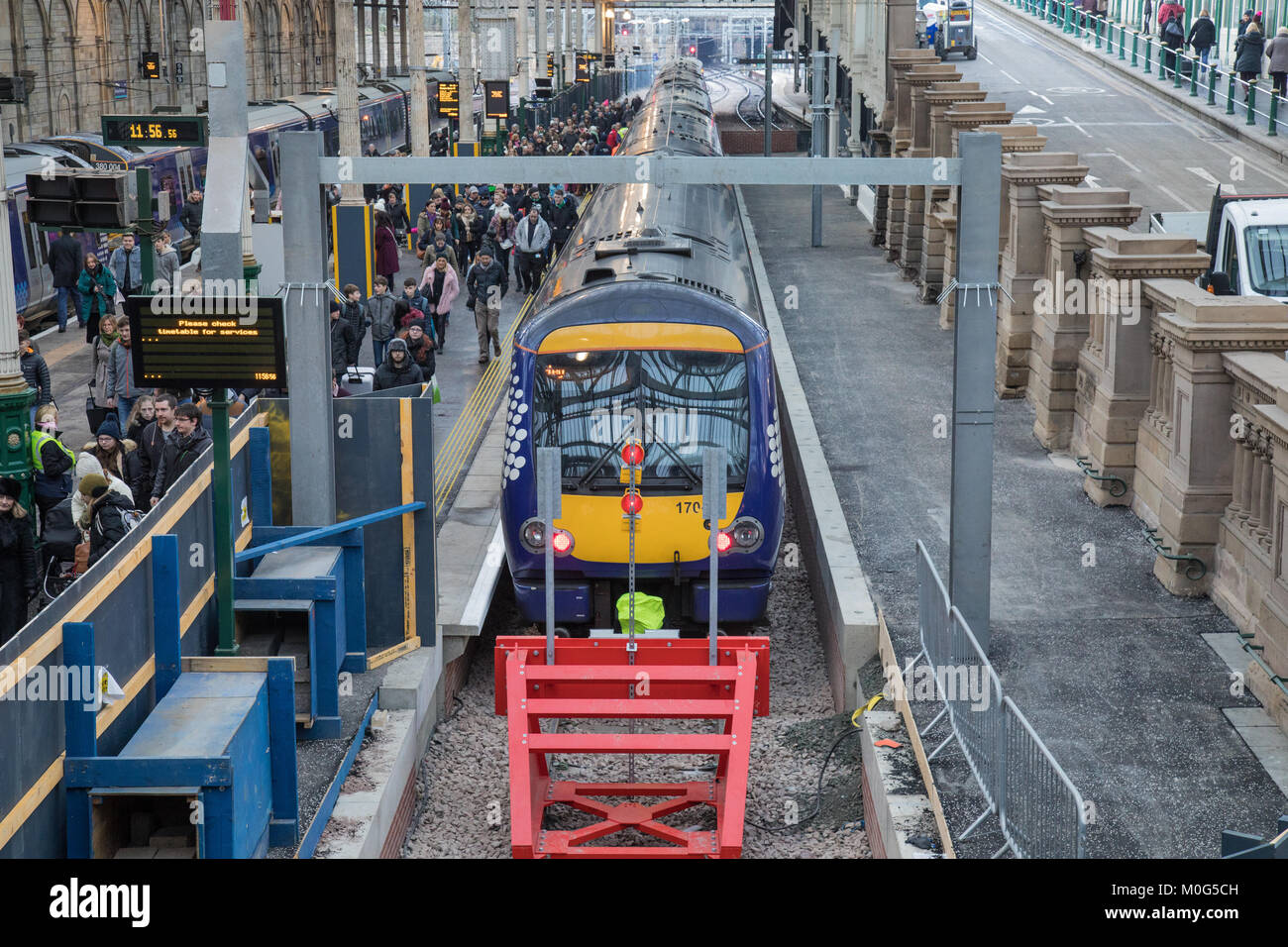 A Scotrail Class 170 Turbostar diesel train at Platform 12 in Edinburgh Waverley station. This platform opened in - Stock Image