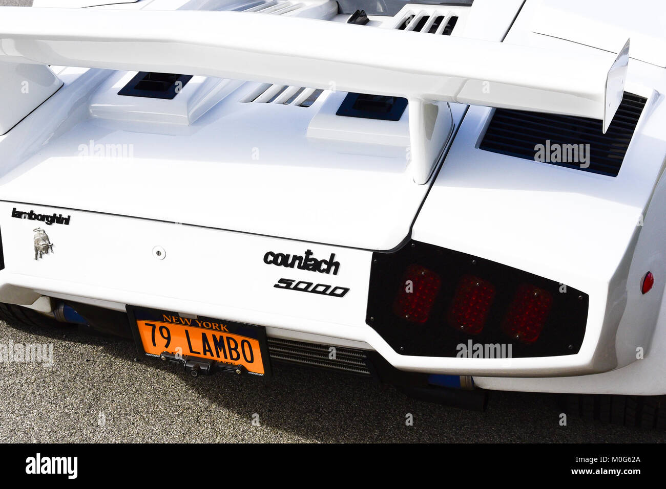 Rear View Of A 1979 Vintage White Lamborghini Countach 5000 With
