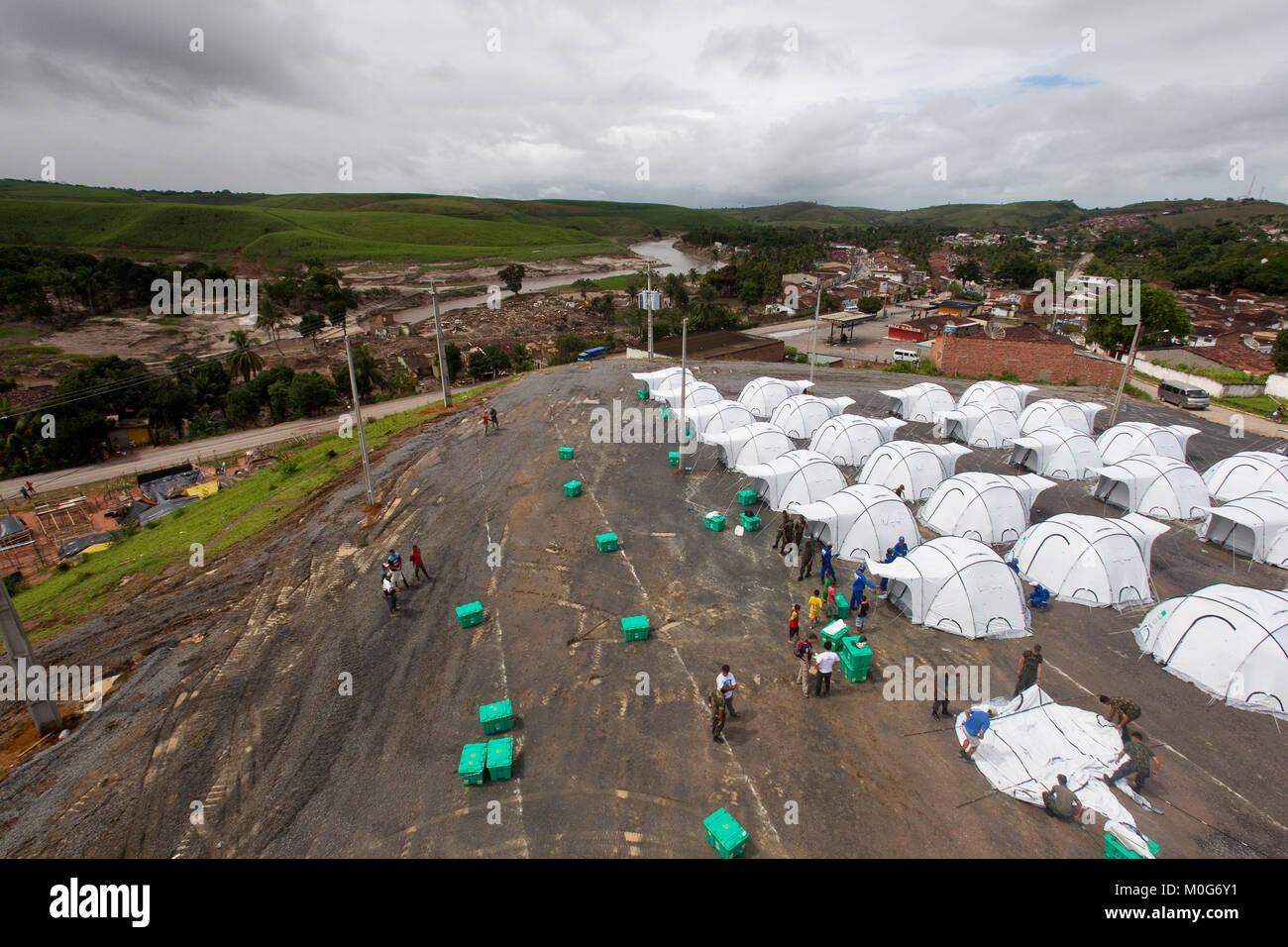 ShelterBox IDP camp at Aqua Preta, following flooding in Pernambuco State, Brazil - Stock Image