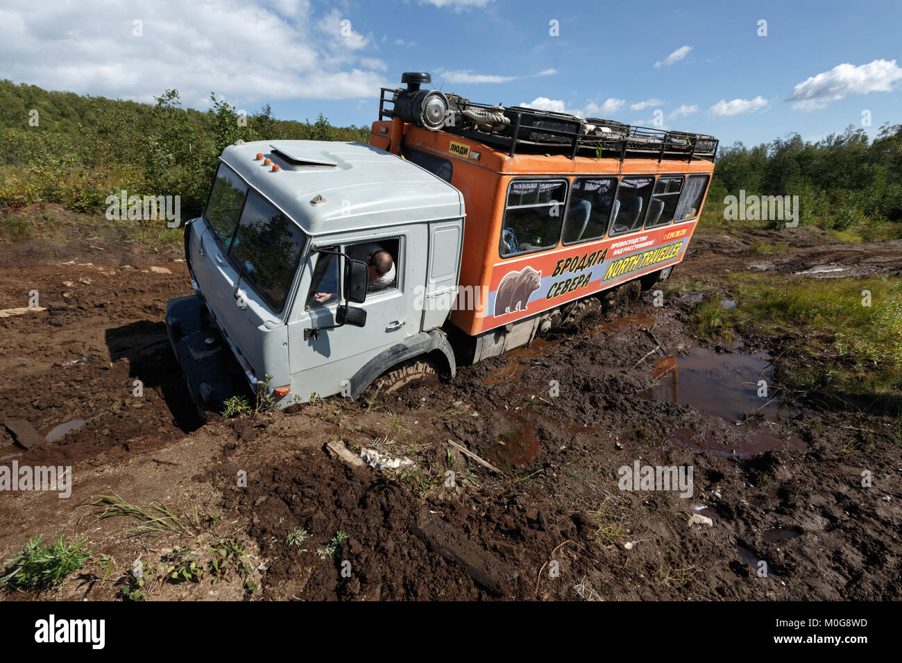 Russian off-road extreme expedition truck KamAZ (six-wheel drive) for transportation of tourists and travelers, - Stock Image