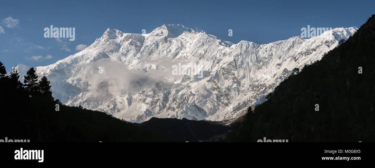 Nanga Parbat is lying on the borderline between Pakistan and India is known as King of Mountains. It is the world's - Stock Image