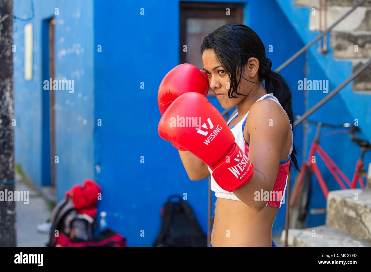 Boxer training at  Rafael Trejo Boxing Gym in Havana, Cuba - Stock Image